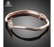 AZORA Crystal Rose Elegant Bangle Bracelet