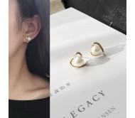 Heart Love Pearl Smooth Earrings